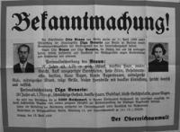 Steckbrief für Olga Benario und Otto Braun